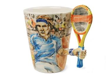 Picture of Tennis Handmade 8oz Coffee Mug Blue