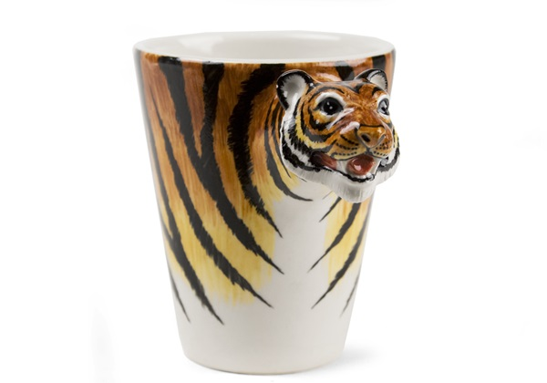 Picture of Tiger Handmade 8oz Coffee Mug Brown And Black