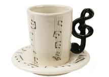 Picture of Treble Clef Handmade Ceramic 2oz Espresso Cup Black