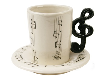 Picture of Treble Clef Handmade Ceramic 2oz Espresso Cup Black