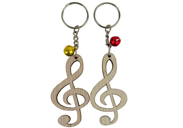 Picture of Treble clef Small Set of 2 Beige Handmade Key Ring