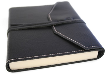 Picture of Tudor Handmade Leather Wrap A5 Journal Black Plain