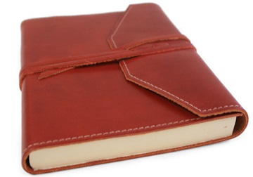 Picture of Tudor Handmade Leather Wrap A5 Journal Maroon Plain