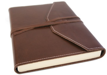 Picture of Tudor Handmade Leather Wrap A6 Journal Chocolate Plain