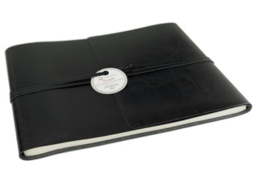 Picture of Tuscan Handmade Recycled Leather Wrap Extra Large Guest Book Black