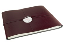 Picture of Tuscan Handmade Recycled Leather Wrap Extra Large Guest Book Burgundy