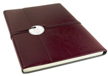 Picture of Tuscan Handmade Recycled Leather Wrap A4 Journal Burgundy Plain