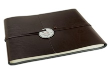 Picture of Tuscan Handmade Recycled Leather Wrap Extra Large Guest Book Chocolate