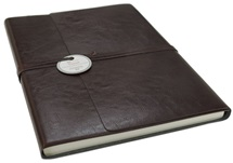 Picture of Tuscan Handmade Recycled Leather Wrap A4 Journal Chocolate Plain