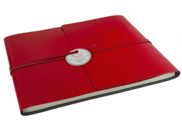 Picture of Tuscan Handmade Recycled Leather Wrap Extra Large Guest Book Red