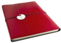 Picture of Tuscan Handmade Recycled Leather Wrap A4 Journal Red Plain
