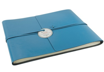 Picture of Tuscan Handmade Recycled Leather Wrap Extra Large Guest Book Sky