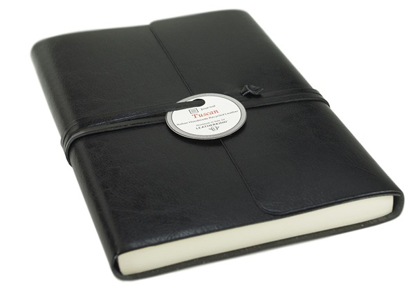Picture of Tuscan Handmade Recycled Leather Wrap A5 Journal Black Plain