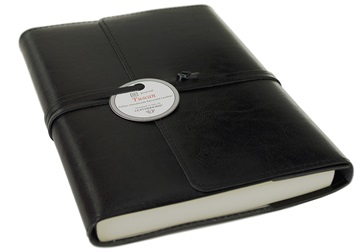 Picture of Tuscan Handmade Recycled Leather Wrap A5 Refillable Journal Black Plain