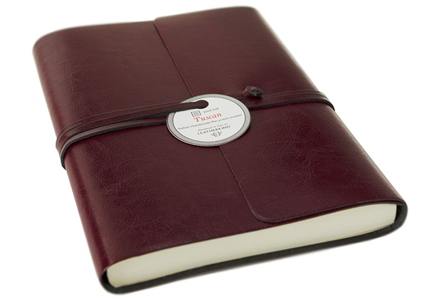 Picture of Tuscan Handmade Recycled Leather Wrap A5 Journal Burgundy Plain