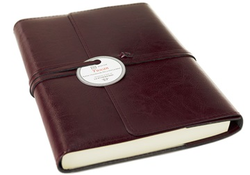 Picture of Tuscan Handmade Recycled Leather Wrap A5 Refillable Journal Burgundy Plain