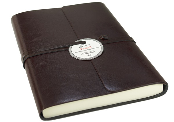 Picture of Tuscan Handmade Recycled Leather Wrap A5 Journal Chocolate Plain