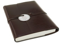 Picture of Tuscan Handmade Recycled Leather Wrap A5 Refillable Journal Chocolate Plain