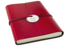 Picture of Tuscan Handmade Recycled Leather Wrap A5 Journal Red Plain