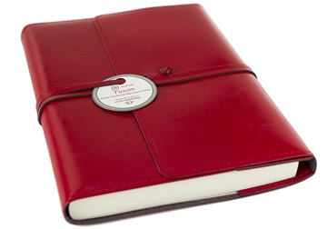 Picture of Tuscan Handmade Recycled Leather Wrap A5 Refillable Journal Red Plain