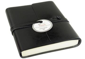 Picture of Tuscan Handmade Recycled Leather Wrap A6 Journal Black Plain