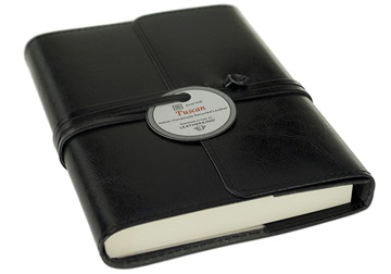 Picture of Tuscan Handmade Recycled Leather Wrap A6 Refillable Journal Black Plain