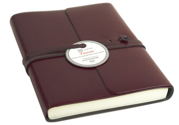 Picture of Tuscan Handmade Recycled Leather Wrap A6 Journal Burgundy Plain