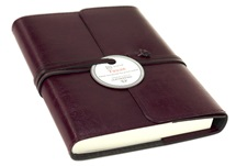Picture of Tuscan Handmade Recycled Leather Wrap A6 Refillable Journal Burgundy Plain