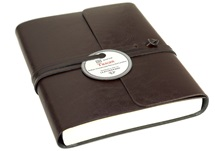 Picture of Tuscan Handmade Recycled Leather Wrap A6 Journal Chocolate Plain