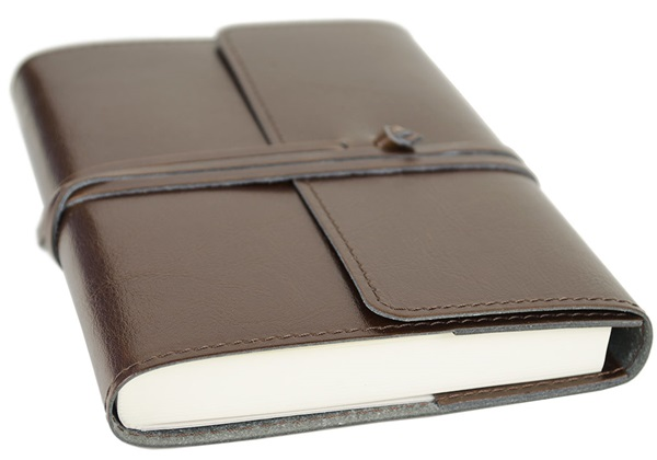 Picture of Tuscan Handmade Recycled Leather Wrap A6 Refillable Journal Chocolate Plain