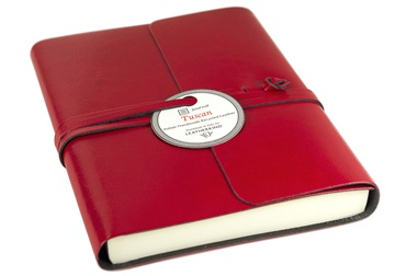 Picture of Tuscan Handmade Recycled Leather Wrap A6 Journal Red Plain
