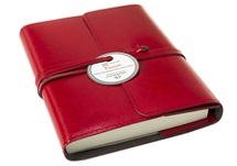 Picture of Tuscan Handmade Recycled Leather Wrap A6 Refillable Journal Red Plain