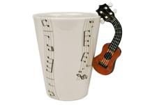 Picture of Ukulele Handmade 8oz Coffee Mug Brown