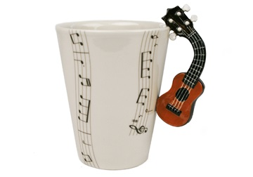 Picture of Ukulele Handmade 8oz Coffee Mug Brown