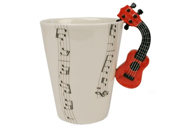 Picture of Ukulele Handmade 8oz Coffee Mug Red