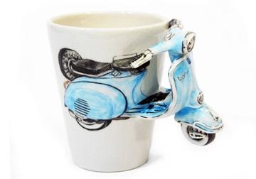 Picture of Vespa Handmade 8oz Coffee Mug Blue
