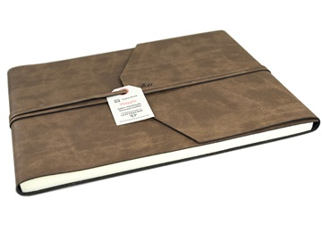 Picture of Viaggio Handmade Recycled Leather Wrap Extra Large Guest Book Tan