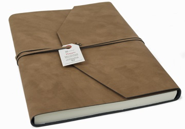 Picture of Viaggio Handmade Recycled Leather Wrap A4 Journal Tan Plain