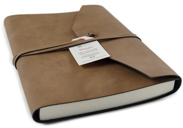 Picture of Viaggio Handmade Recycled Leather Wrap A5 Journal Tan Plain