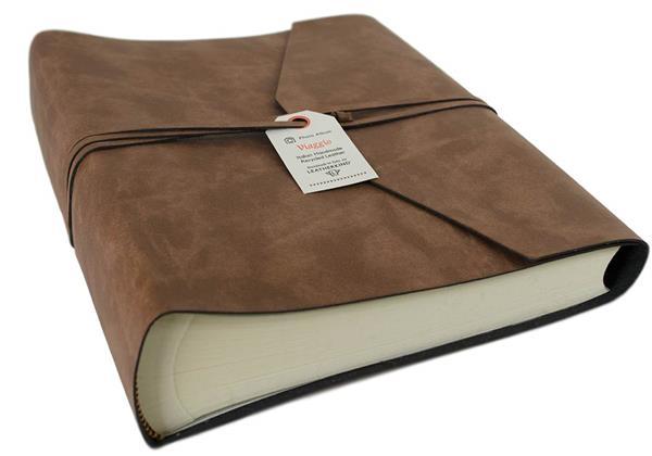 Picture of Viaggio Handmade Recycled Leather Wrap Medium Photo Album Tan