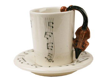 Picture of Violin Handmade Ceramic 2oz Espresso Cup Brown