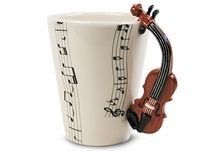 Picture of Violin Handmade 8oz Coffee Mug Brown