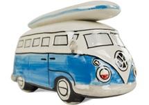 Picture of Camper Van Handmade Ceramic Large Money Pot Blue Surfboard