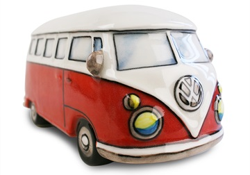 Picture of Camper Van Handmade Ceramic Large Money Pot Red