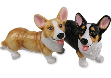 Picture of Welsh Corgi Cardigan Handmade Mini Cruet Set Fawn and Black
