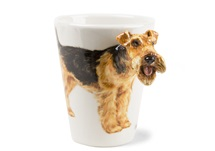 Picture of Welsh Terrier Handmade 8oz Coffee Mug Tan And Black