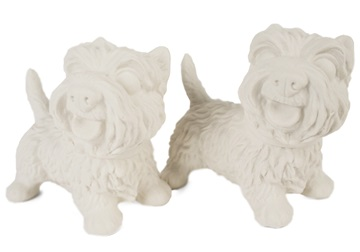 Picture of West Highland Terrier Handmade Unpainted Ceramics Mini Unpainted Cruet Set Unglazed