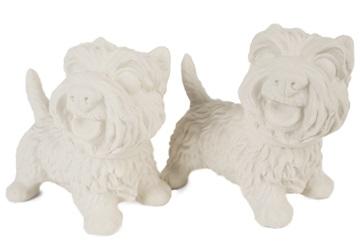Picture of West Highland Terrier Handmade Unpainted Ceramics Mini Unpainted Cruet Set Unglazed
