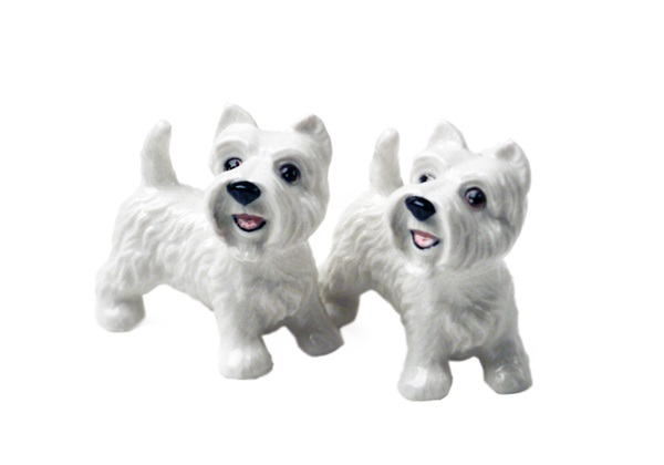 Picture of West Highland Terrier Handmade Mini Cruet Set White