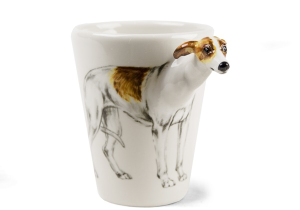 Picture of Whippet Handmade 8oz Coffee Mug White And Fawn